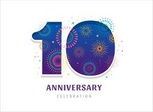 Anniversary fireworks and celebration background, number and firecracker, vector design and illustration. Anniversary fireworks and celebration background vector illustration