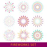 Anniversary fireworks and celebration background. Set fireworks. For carnival Royalty Free Stock Photo