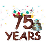 75 Anniversary with flags and cake Royalty Free Stock Photography