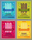 Anniversary flyers or invitations vector templates. 100 or century. Stock Photo