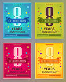 Anniversary flyers or invitations vector templates. 8. Eight yearth Stock Images