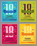 Anniversary flyers or invitations vector templates. 18. Eighteen years. Anniversary flyers or invitations vector templates. Blue, green, pink and yellow as Royalty Free Stock Photos
