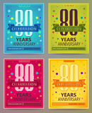 Anniversary flyers or invitations vector templates. 80. Eighty years. Anniversary flyers or invitations vector templates. Blue, green, pink and yellow as winter Stock Images