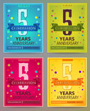 Anniversary flyers or invitations vector templates. 5. Five year Stock Photo
