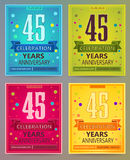 Anniversary flyers or invitations vector templates. 45. Forty five years. Stock Photo