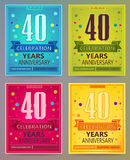 Anniversary flyers or invitations vector templates. 40. Fotry years. Royalty Free Stock Photos