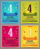 Anniversary flyers or invitations vector templates. 4. Four year Royalty Free Stock Photos