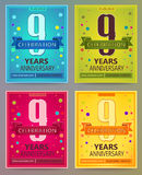 Anniversary flyers or invitations vector templates. 9. Nine years Stock Photos