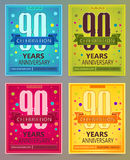 Anniversary flyers or invitations vector templates. 90. Ninety years. Royalty Free Stock Photography