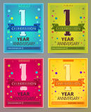 Anniversary flyers or invitations vector templates. 1. One year Royalty Free Stock Photography