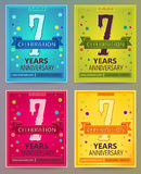 Anniversary flyers or invitations vector templates. 7. Seven years Stock Photos