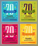 Anniversary flyers or invitations vector templates. 70. Seventy years. Royalty Free Stock Images