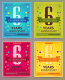 Anniversary flyers or invitations vector templates. 6. Six years Stock Photos
