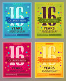 Anniversary flyers or invitations vector templates. 16. Sixteen years. Anniversary flyers or invitations vector templates. Blue, green, pink and yellow as Vector Illustration