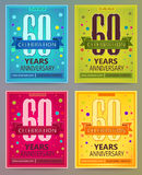Anniversary flyers or invitations vector templates. 60. Sixty years. Anniversary flyers or invitations vector templates. Blue, green, pink and yellow as winter Royalty Free Stock Image