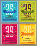 Anniversary flyers or invitations vector templates. 35. Thirty five years. Stock Image