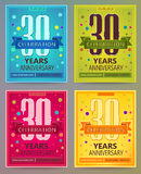 Anniversary flyers or invitations vector templates. 30. Thirty years. Anniversary flyers or invitations vector templates. Blue, green, pink and yellow as winter Stock Images