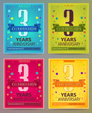 Anniversary flyers or invitations vector templates. 3. Three year Royalty Free Stock Images