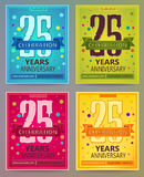 Anniversary flyers or invitations vector templates. 25. Twenty five years. Royalty Free Stock Photography