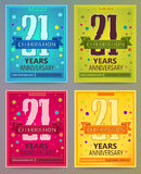 Anniversary flyers or invitations vector templates. 21. twenty one years. Stock Image