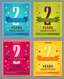 Anniversary flyers or invitations vector templates. 2. Two year Royalty Free Stock Image