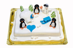 Anniversary fondant cake with winter theme. Beautifully fondant cake with winter theme and pinguini stock image