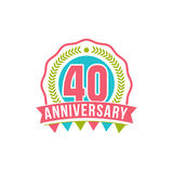 Anniversary forty years number. 40th years festive Logo and greeting for invitation decor. Flat style vector illustration isolated on white background vector illustration