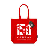 150 anniversary of the founding of Canada maple leaf texture number eco bag isolated vector design. 