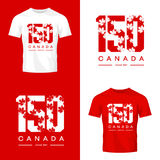 150 anniversary of the founding of Canada maple leaf texture number tee print isolated vector design. Premium quality logo concept illustration. Street wear t Stock Photography