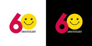 60 anniversary with fun and smile. 60 years old smiling logo. Congratulating celebrating 60th, 6th numbers, logotype with emotions. Isolated humorous colored Royalty Free Illustration
