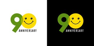 90 anniversary with fun and smile. 90 years old smiling logo. Congratulating celebrating 90th, 9th numbers, logotype with emotions. Isolated humorous colored Stock Photo