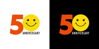 50 anniversary with fun and smile. 50 years old smiling logo. Congratulating celebrating 50th, 5th numbers, logotype with emotions. Isolated humorous colored Royalty Free Illustration