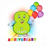 8 anniversary funny logo. Eight years old animated logotype. 8 anniversary funny logo. Kids birthday colored card with personified digit, many bright Vector Illustration