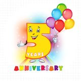 5 anniversary funny logo. Five years old animated logotype. 5 anniversary funny logo. Kids birthday colored card with personified digit, many bright celebrating Vector Illustration