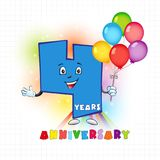 4 anniversary funny logo. Four years old animated logotype. 4 anniversary funny logo. Kids birthday colored card with personified digit, many bright celebrating Vector Illustration