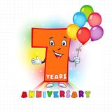 7 anniversary funny logo. Seven years old animated logotype. 7 anniversary funny logo. Kids birthday colored card with personified digit, many bright Vector Illustration