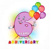 6 anniversary funny logo. Six years old animated logotype. 6 anniversary funny logo. Kids birthday colored card with personified digit, many bright celebrating Stock Illustration