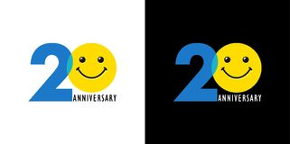 20 anniversary funny logo. 20 years old smiling face. Congratulating celebrating 20th, 2nd numbers, logotype with emotions.  colored greetings logo on black and Stock Image