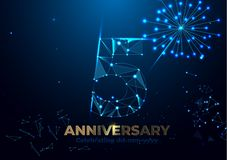 Anniversary 5. Geometric polygonal Poster template for Celebrating 5th anniversary event party. fireworks background. Low polygon vector illustration