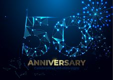 Anniversary 50. Polygonal Anniversary greeting banner. Celebrating 50th anniversary event party. fireworks background. Low polygon vector illustration