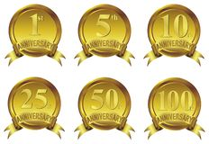 Anniversary gold badge icon collection with ribbon. Six Number variation Royalty Free Stock Photography