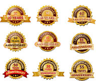 Anniversary gold badge set Royalty Free Stock Photo