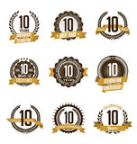 Anniversary Gold Badges 10th Years Celebrating. Vector Set of Vintage Anniversary Gold Badges 10th Years Celebrating Royalty Free Stock Photography