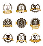 Anniversary Gold Badges 30th Years Celebrating. Vector Set of Vintage Anniversary Gold Badges 30th Years Celebrating Stock Images