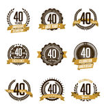 Anniversary Gold Badges 40th Years Celebrating Royalty Free Stock Images