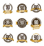 Anniversary Gold Badges 90th Years Celebrating. Vector Set of Vintage Anniversary Gold Badges 90th Years Celebrating Royalty Free Stock Photo