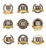 Anniversary Gold Badges 100th Years Celebrating. Vector Set of Vintage Anniversary Gold Badges 100th Years Celebrating Royalty Free Stock Photo