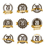 Anniversary Gold Badges 20th Years Celebrating Stock Photos