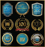 Anniversary gold and blue labels collection, 100 years. Illustration Royalty Free Stock Photos