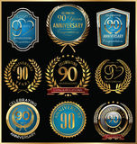 Anniversary gold and blue labels collection, 90 years Royalty Free Stock Images